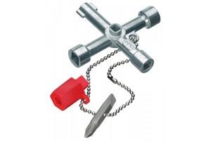 """Ключ для электрошкафов Knipex 00 11 03, с адаптером для битов 1/4"""" на прочной цепочке, KN-001103"""