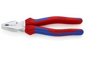 Пассатижи Knipex 02 05 200, комбинированные особой мощности, с двухкомпонентными чехлами, хромированная головка, 200 mm, KN-0205200