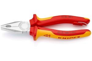 Плоскогубцы Knipex 03 06 18 0T, комбинированные диэлектрические, хромированные, в блистерной упаковке, со страховочной петлёй, 180mm, KN-0306180T
