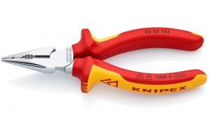 Пассатижи Knipex 08 26 145, изолированные, удлиненные, с двухкомпонентными чехлами, хромированные, 145 mm, KN-0826145