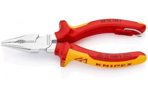 Пассатижи Knipex 08 26 14 5T, изолированные, удлиненные, с двухкомпонентными чехлами, хромированные, со страховочной петлёй, 145 mm, KN-0826145T