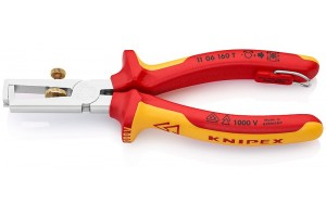Стриппер Knipex 11 06 16 0T, изолированный VDE 1000V, хромированный, со страховочной петлёй, до 10, 0 кв.мм, KN-1106160T
