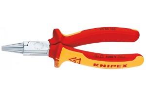 Круглогубцы Knipex 22 06 160, диэлектрические VDE 1000V, двухкомпонентные чехлы, хромированные, 160 mm, KN-2206160