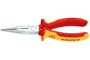 Длинногубцы Knipex 25 06 160, диэлектрические VDE 1000V, с плоскими губками и режушими кромками, хромированные, 160mm, KN-2506160