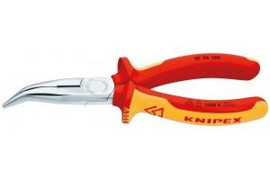 Длинногубцы Knipex 25 26 160, диэлектрические VDE 1000V, с режушими кромками, изогнутые ∡40°, хромированные, 160mm, KN-2526160