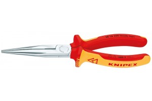 Длинногубцы Knipex 26 16 20 0SB, диэлектрические VDE 1000V, с режушими кромками, хромированные, в блистерной упаковке, 200mm, KN-2616200SB