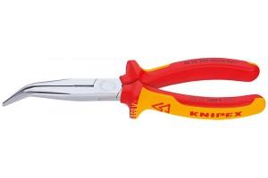Длинногубцы Knipex 26 26 200, с режушими кромками, изогнутые ∡40°, хромированные, 200mm, KN-2626200