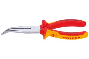 Длинногубцы Knipex 26 26 20 0SB, с режушими кромками, изогнутые ∡40°, хромированные, в блистерной упаковке, 200mm, KN-2626200SB