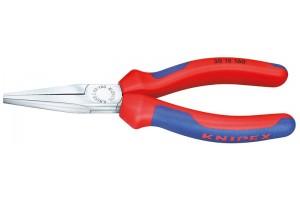 Длинногубцы Knipex 30 15 160, без режущих кромок, двухкомпонентные чехлы, хромированные, 160mm, KN-3015160