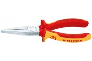 Длинногубцы Knipex 30 16 160, без режущих кромок, двухкомпонентные чехлы, хромированные, 160mm, KN-3016160