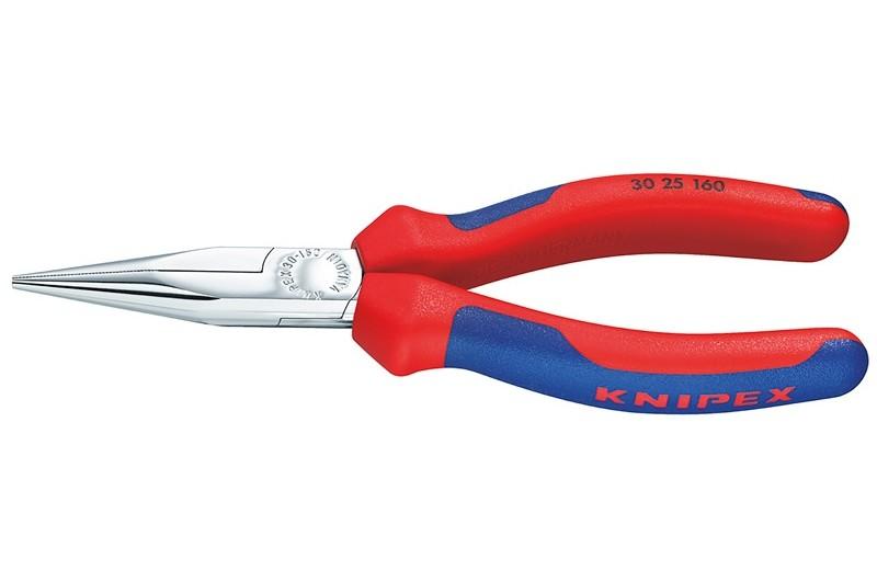 Длинногубцы Knipex 30 25 140, без режущих кромок, двухкомпонентные чехлы, хромированные, 140mm, KN-3025140