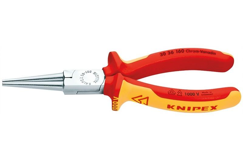 Круглогубцы Knipex 30 36 160, диэлектрические VDE 1000V, без режущих кромок, хромированные, 160mm, KN-3036160