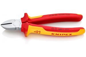 Кусачки боковые Knipex 70 06 18 0SB, диэлектрические VDE 1000V, хромироаванные, в блистерной упаковке, 180 mm, KN-7006180SB