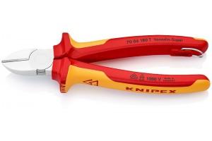 Кусачки боковые Knipex 70 06 18 0T, диэлектрические VDE 1000V, хромироаванные, со страховочной петлёй, 180 mm, KN-7006180T