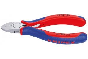 Кусачки боковые Knipex 72 02 125, для пластмассы, двухкомпонентные чехлы, полированные, 125 mm, KN-7202125
