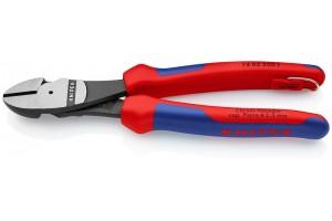 Кусачки Knipex 74 02 20 0T, боковые, особо мощные, с двухкомпонентными ручками, со страховочной петлёй, 200 mm, KN-7402200T