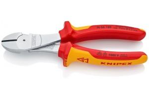Кусачки Knipex 74 06 18 0SB, диэлектрические VDE 1000V, двухкомпонентные чехлы, хромированные, в блистерной упаковке, 180 mm, KN-7406180SB