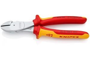 Кусачки Knipex 74 06 200, диэлектрические VDE 1000V, особой мощности, двухкомпонентные чехлы, хромированные, 200 mm, KN-7406200