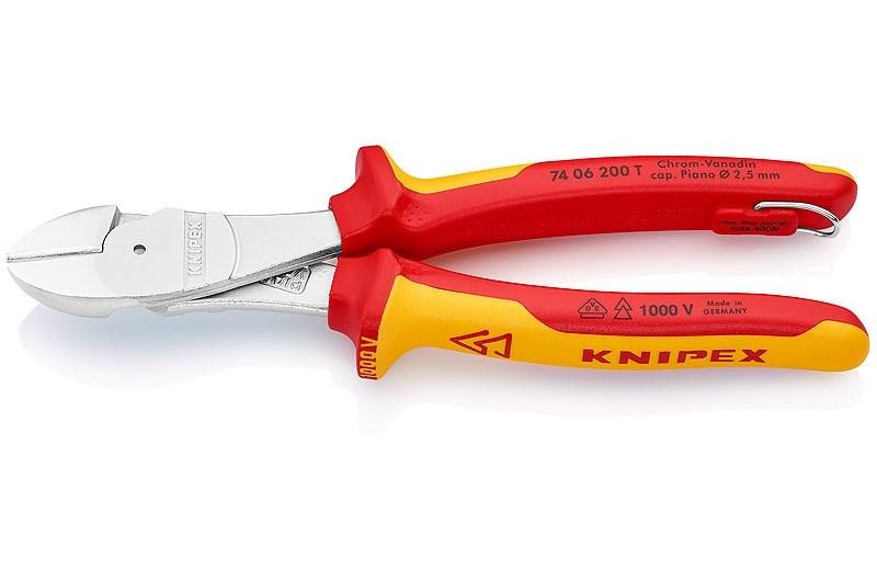 Кусачки Knipex 74 06 20 0T, диэлектрические VDE 1000V, двухкомпонентные чехлы, хромированные, со страховочной петлёй, 200 mm, KN-7406200T