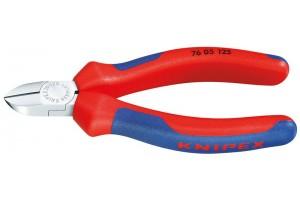 Кусачки, Knipex 76 05 125, для электроники, хромированные, двухкомпонентные чехлы, 125 mm, KN-7605125