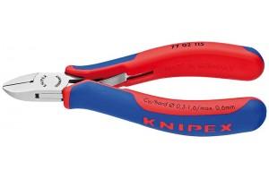 Кусачки, Knipex 77 02 115, для электроники, коробчатый шарнир, полированные, двухкомпонентные чехлы, 115 mm, KN-7702115