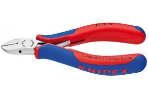 Кусачки, Knipex 77 12 115, для электроники, коробчатый шарнир, полированные, двухкомпонентные чехлы, 115 mm, KN-7712115
