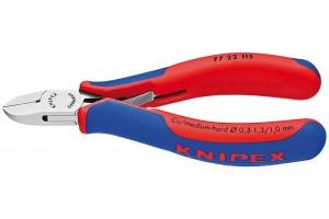 Кусачки, Knipex 77 22 115, для электроники, коробчатый шарнир, полированные, двухкомпонентные чехлы, 115 mm, KN-7722115