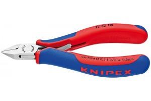 Кусачки, Knipex 77 32 115, для электроники, коробчатый шарнир, полированные, двухкомпонентные чехлы, 115 mm, KN-7732115