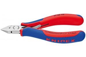 Кусачки, Knipex 77 42 130, для электроники, коробчатый шарнир, полированные, двухкомпонентные чехлы, 130 mm, KN-7742130