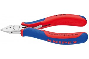 Кусачки, Knipex 77 52 115, для электроники, коробчатый шарнир, полированные, двухкомпонентные чехлы, 115 mm, KN-7752115