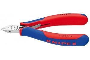Кусачки, Knipex 77 72 115, для электроники, коробчатый шарнир, полированные, двухкомпонентные чехлы, 115 mm, KN-7772115