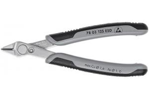 Кусачки, Knipex 78 03 12 5ESD, двухкомпонентные чехлы, INOX - нержавеющая сталь, антистатические ESD, 115 mm, KN-7803125ESD