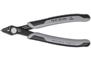 Кусачки, Knipex 78 61 12 5ESD, полированные, двухкомпонентные чехлы, INOX - нержавеющая сталь, антистатические ESD, 125 mm, KN-7861125ESD