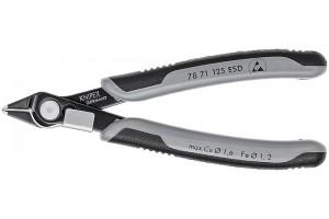 Кусачки, Knipex 78 71 12 5ESD, для электроники, двухкомпонентные чехлы, воронёные, антистатические ESD, 125 mm, KN-7871125ESD