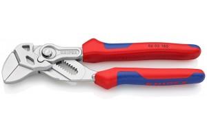 Клещи переставные-гаечный ключ Knipex 86 05 180, с двухкомпонентными ручками, хромированные, 180 mm, KN-8605180