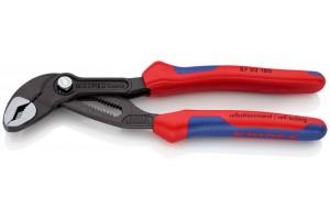 Клещи переставные Knipex 87 02 180, Cobra, с двухкомпонентными ручками, чернёные, 180 mm, KN-8702180
