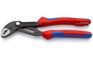 Клещи переставные Knipex 87 02 18 0T Cobra, с двухкомпонентными ручками, чернёные, со страховочной петлёй, 180 mm, KN-8702180T