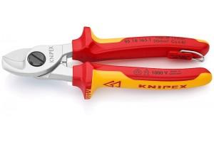 Кабелерез Knipex 95 16 16 5TBK, диэлектрический VDE 1000V, с двухкомпонентными чехлами, со страховочной петлёй, до 50 мм², 165 mm, KN-9516165TBK
