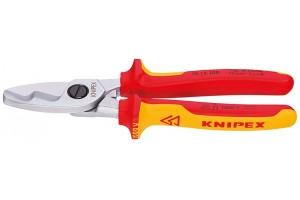 Кабелерез Knipex 95 16 20 0SB, диэлектрический VDE 1000V, с двухкомпонентными чехлами, до 70 мм², в блистерной упаковке, 200 mm, KN-9516200SB