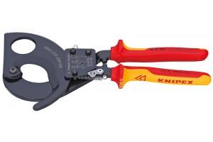 Ножницы секторные Knipex 95 36 280, диэлектрические VDE 1000V, с двухкомпонентными чехлами, до 380 мм², 280 mm, KN-9536280