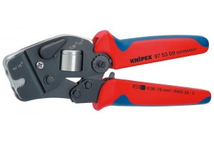 Пресс-клещи Knipex 97 53 09, торцевые, автоматические, торцевые, двухкомпонентные ручки, 0, 08 - 10 + 16 mm², 180 mm, KN-975309