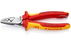 Пресс-клещи Knipex 97 78 18 0T, диэлектрические VDE 1000V, двухкомпонентные ручки, со страховочной петлёй, 0, 25 - 16, 0 mm², 180 mm, KN-9778180T