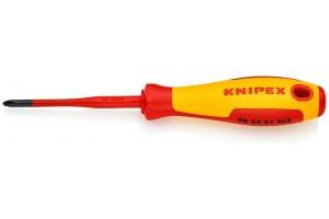 Отвертка диэлектрическая Knipex 98 24 01 SLS, PlusMinus Phillips®, с тонким жалом, 187 mm, PH1, KN-982401SLS