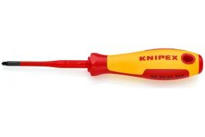 Отвертка диэлектрическая Knipex 98 25 01 SLS, PlusMinus Pozidriv®, с тонким жалом, 187 mm, PZ1, KN-982501SLS
