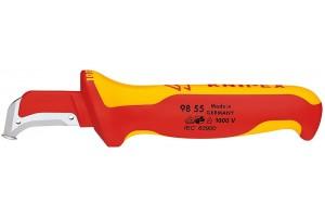 Нож Knipex 98 55, для снятия изоляции, диэлектрический VDE 1000V, с направляющей пяткой, 180 mm, KN-9855